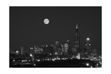 Chicago Skyline & Full Moon In Black & White