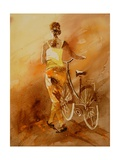 Walking Aside Her Bike Watercolor