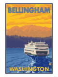 Ferry and Mountains  Bellingham  Washington