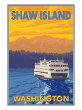 Ferry and Mountains  Shaw Island  Washington