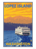 Ferry and Mountains  Lopez Island  Washington