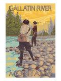 Women Fly Fishing  Gallatin River  Montana