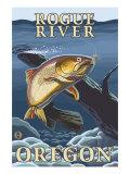 Trout Fishing Cross-Section  Rogue River  Oregon