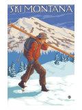 Skier Carrying Snow Skis  Montana