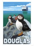 Puffins & Cruise Ship  Douglas  Alaska