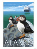 Puffins Watching a Cruise Ship  Alaska