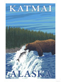Bear Fishing in River  Katmai  Alaska