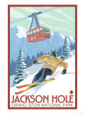 Wyoming Skier and Tram  Jackson Hole