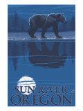 Bear in Moonlight  Sun River  Oregon