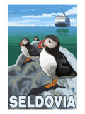 Puffins &amp; Cruise Ship  Seldovia  Alaska