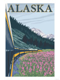 Alaska Railroad and Fireweed  Alaska