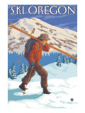 Skier Carrying Snow Skis  Oregon