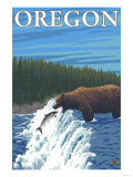 Bear Fishing in River  Oregon