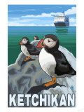 Puffins & Cruise Ship  Ketchikan  Alaska