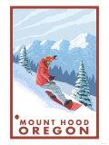 Snowboarder Scene  Mount Hood  Oregon
