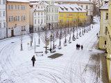 Snow Covering Na Kampe Square  Kampa Island  Mala Strana Suburb  Prague  Czech Republic  Europe