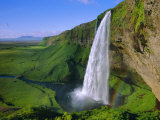 Seljalandsfoss Waterfall in the South of the Island  Iceland