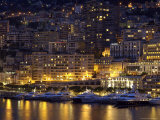 Waterfront at Night  Monte Carlo  Principality of Monaco  Cote d'Azur  Mediterranean  Europe