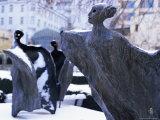 Snow Covered Statues in Frantiskanska Garden  Nove Mesto  Prague  Czech Republic  Europe