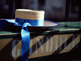 Close-up of Gondolier's Straw Hat and Blue Ribbon  Venice  Veneto  Italy  Europe