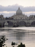 St Peter's Basilica from Across the Tiber River  Rome  Lazio  Italy  Europe