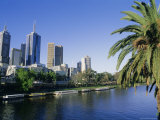 The Yarra River and City Buildings from Princes Bridge  Melbourne  Victoria  Australia