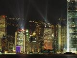 Hong Kong Island Central Skyline at Night from Tsim Sha Tsui  Hong Kong  China  Asia