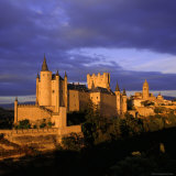 The Alcazar and Cathedral at Sunset  Segovia  Castilla Y Leon  Spain