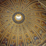 Ceiling  Interior of the Dome  St Peter's Basilica  Rome  Lazio  Italy