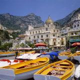 Moored Boats and Church  Positano  Campania  Itay