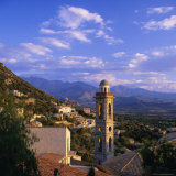 Evening View Across Rooftops and Church Tower to Mountains  Lumio  Near Calvi  Corsica  France