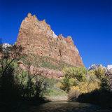 Jagged Sandstone Cliffs Above the Virgin River  Zion National Park  Utah  USA