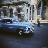 Panned Shot of an Old Blue American Car  Havana  Cuba  West Indies  Central America