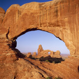 Rock Formations Caused by Erosion  with Turret Arch Seen Through North Window  Utah  USA