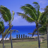 Anakena Beach with Ahu Nau Nau  Easter Island  Chile  Pacific