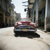 Old Red American Car  Havana  Cuba  West Indies  Central America