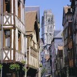 Old Houses and St Ouen Church  Rouen  Seine Maritime  Haute Normandie (Normandy)  France  Europe