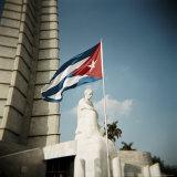 Cuban Flag and Jose Marti Memorial  Plaza De La Revolucion  Havana  Cuba  West Indies