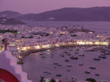 View Over Mykonos Town  Illuminated at Night  Island of Mykonos (Mikonos)  Greek Islands  Greece