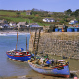 Small Boats by the Quayside  Coverack  Cornwall  England  UK