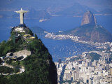 Statue of Christ the Redeemer Overlooking City and Sugar Loaf Mountain  South America