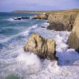 Rocks and Sea at Gwithian  Cornwall  England