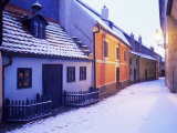 Snow Covered 16th Century Cottages of Golden Lane in Winter Twilight  Hradcany  Czech Republic
