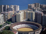 Aerial View Over the Bullring and City  Malaga  Costa Del Sol  Spain  Mediterranean