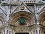 Gothic Detail on the Facade of the Duomo  Including the Sun Symbol  Siena  Tuscany  Italy