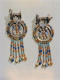 Earrings Which Show the King Flanked by Two Sacred Serpents in Centre of Clip  Thebes  Egypt