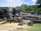 Two Monks in Front of Buddha Statue  Gal Vihara  Polonnaruwa  Unesco World Heritage Site  Sri Lanka