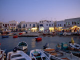 Boats in Harbour at Dusk  with Shops and Restaurants of Mykonos Town in the Background  Greece