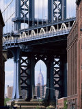 Empire State Building Seen Through the Manhattan Bridge  Brooklyn  New York  New York State  USA