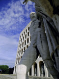 Statue with the Palazzo Della Civilta Di Lavoro Behind  Eur  Lazio  Italy